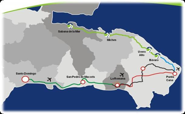 La autovía El Coral, seguido hasta Sabana de la Mar por el Bulevar Turístico del Este.